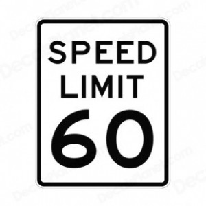 60 miles an hour sign